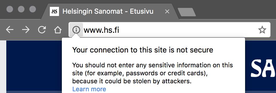 Non-SSL site from Helsingin Sanomat
